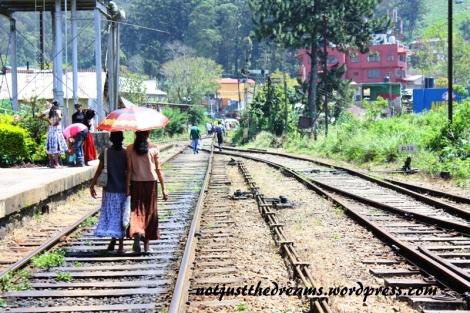 Pomimo zakazów ludzie najchętniej skracają sobie drogą chodząc właśnie torami. W Haputale było to szczególnie popularne.